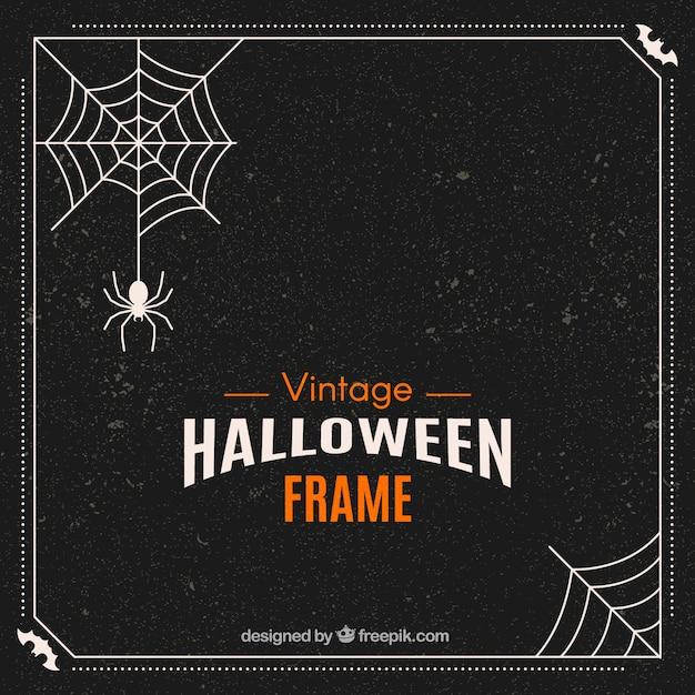 Retro halloween frame Gratis Vector