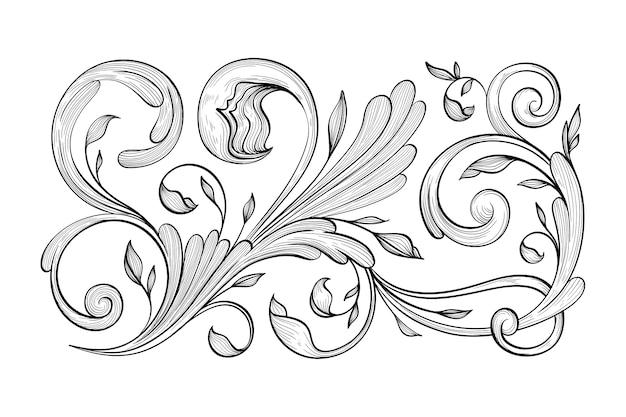 Retro hand getekend decoratieve rand in barokstijl Gratis Vector