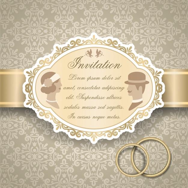 Retro huwelijksuitnodiging Gratis Vector