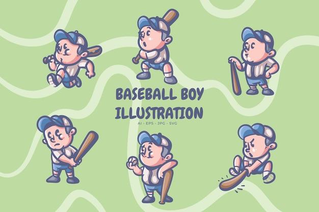 Retro illustratie van de honkbaljongen Premium Vector