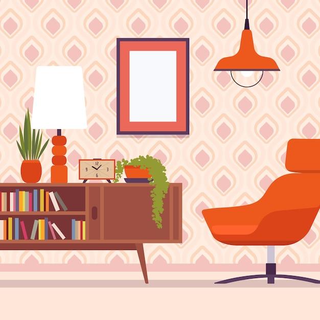 Retro interieur met stoel, frames voor copyspace en mockup Premium Vector