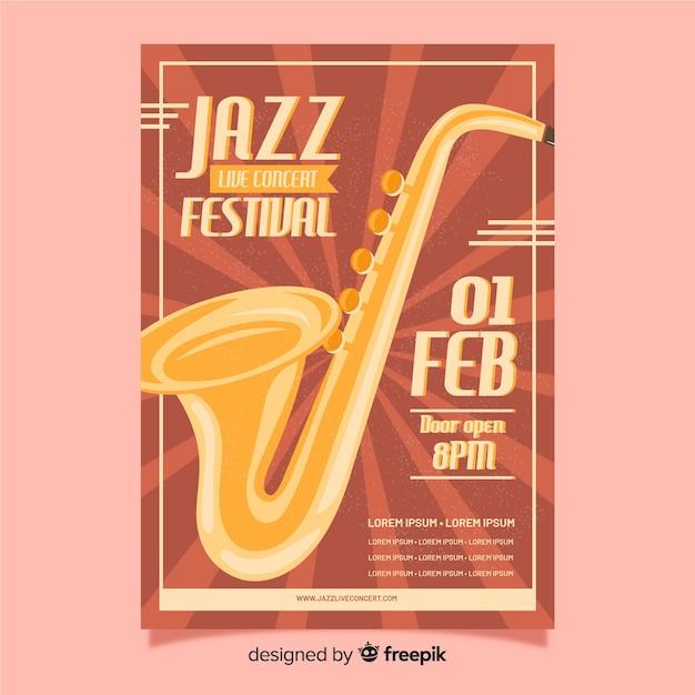 Retro jazz festival poster sjabloon Gratis Vector