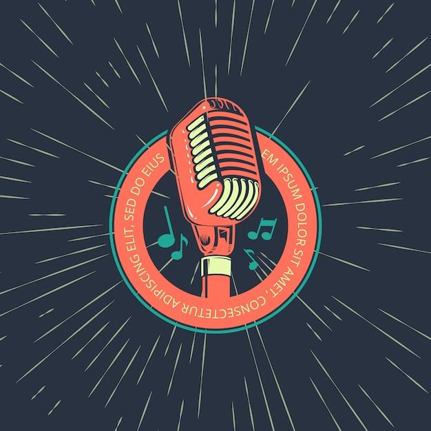 Retro karaoke muziek club, bar, audio-record studio vector logo met microfoon op vintage sunburst achtergrond illustratie Premium Vector