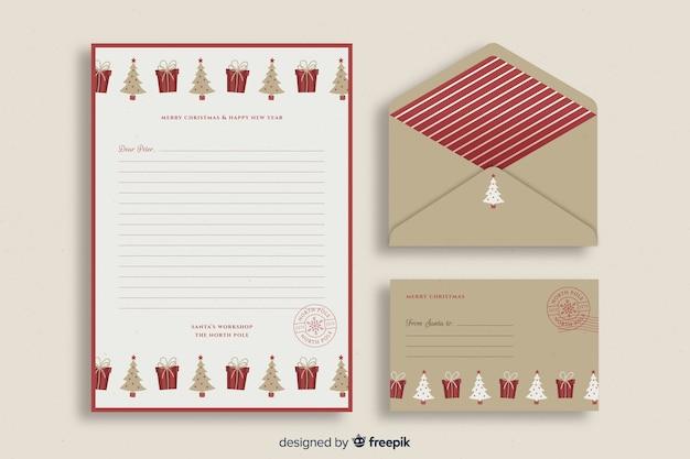 Retro kerst briefpapier sjabloon Gratis Vector