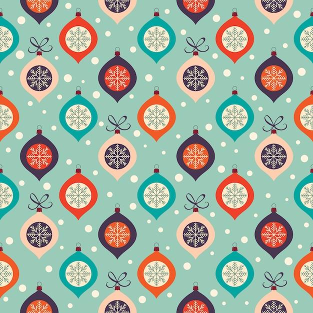 Retro kerst patroon met decoratieve kerstballen en sneeuwvlokken Premium Vector