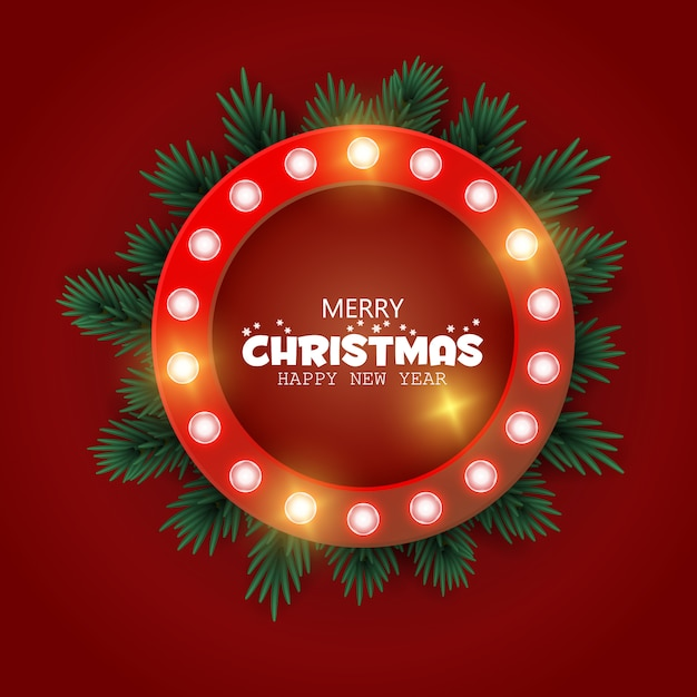 Retro kerstmis lighr frame met boomtakken. realistische kerstboom. luier nieuwjaar. banner, bericht Premium Vector