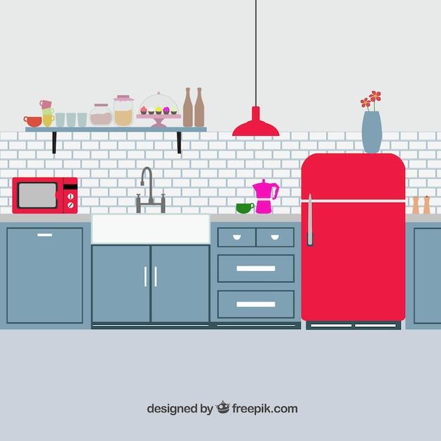 Retro keuken Gratis Vector