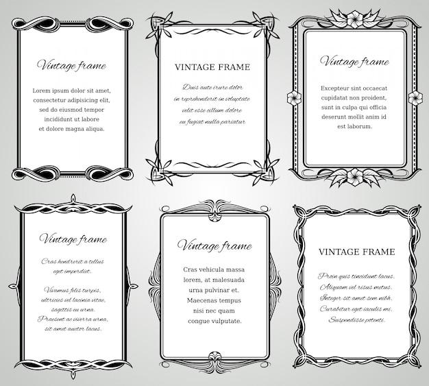 Retro klassieke randen en kalligrafische oude bruiloft fotolijsten collectie. Premium Vector