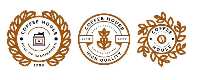 Retro koffie logo sjabloonontwerp Premium Vector
