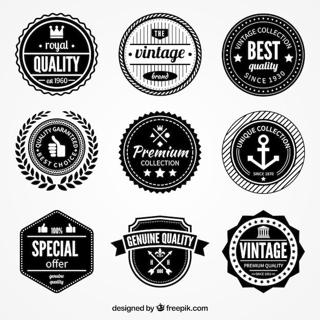 Retro kwaliteit badges Gratis Vector