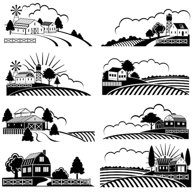 Retro landelijke landschappen met boerderij in veld Premium Vector