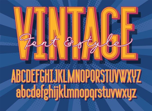 Retro lettertype en grafische stijl. 3d vintage alfabetletters. Premium Vector