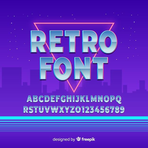 Retro lettertype sjabloon plat ontwerp Gratis Vector