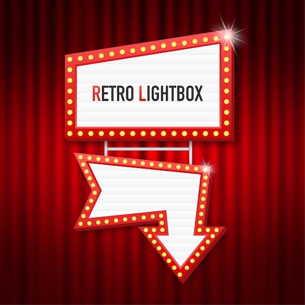 Retro lightbox billboard vintage frame. lightbox met aanpasbare. klassieke banner voor uw projecten of reclame. Premium Vector