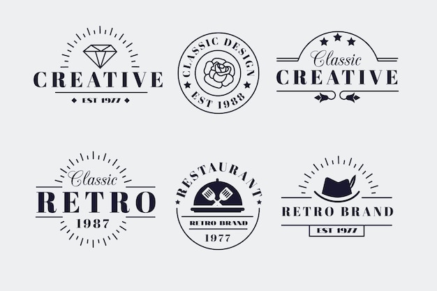 Retro logo-collectie voor verschillende merken Premium Vector