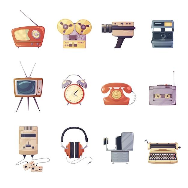 Retro media gadgets cartoon set van kleurrijke entertainment technologische apparaten geïsoleerde vector illust Gratis Vector