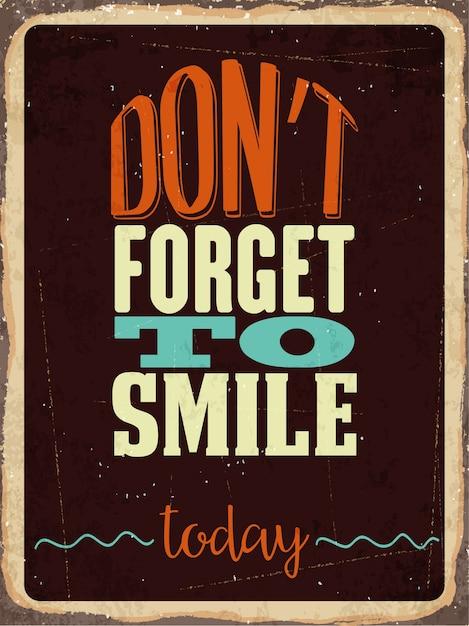 Retro metalen bord vergeet niet vandaag te glimlachen Gratis Vector