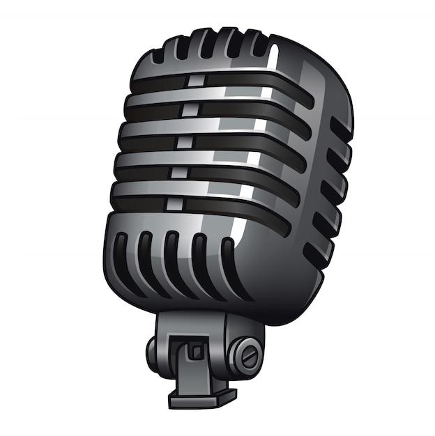 Retro microfoon geïsoleerd wit Premium Vector