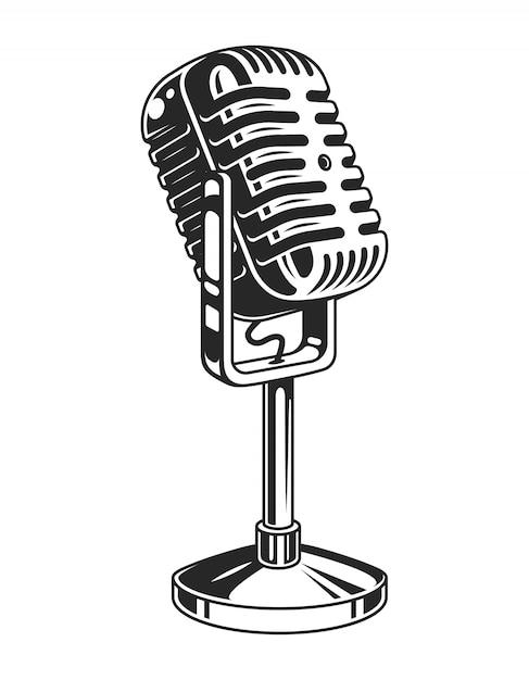 Retro monochroom muziek microfoon concept Gratis Vector