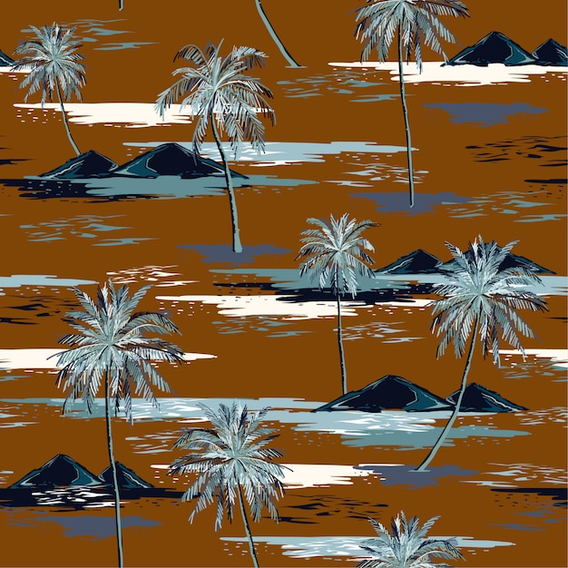 Retro mooie naadloze eiland patroon landschap met kleurrijke palmbomen Premium Vector