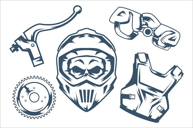 Retro motorcross-elementenpakket Gratis Vector