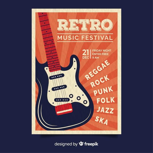 Retro muziek poster sjabloon Gratis Vector