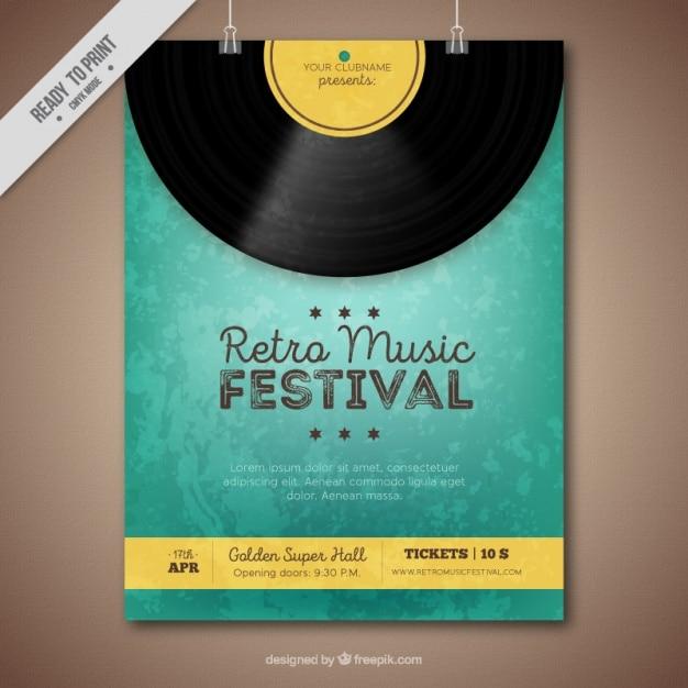Retro muziekfestival brochure met vinyl en gele details Gratis Vector