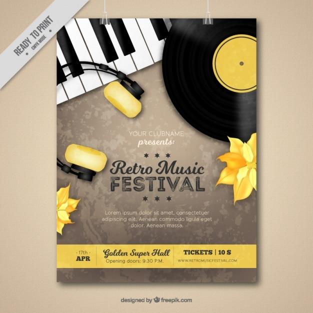 Retro muziekfestival leaflet Gratis Vector