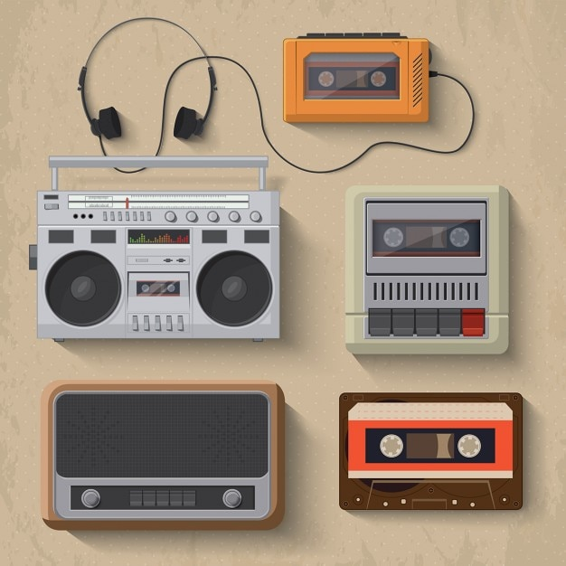Retro muziekspeler iconen vector illustratie Gratis Vector