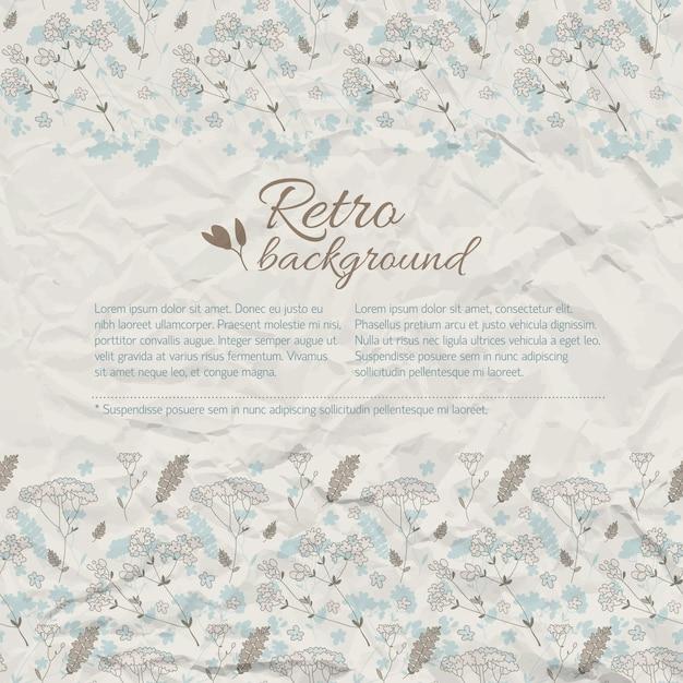 Retro natuurlijke achtergrond met de bloemen van de tekstweide op geweven verfrommeld papier Gratis Vector