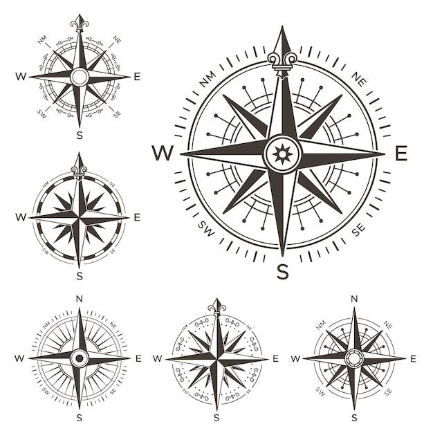 Retro nautisch kompas Premium Vector