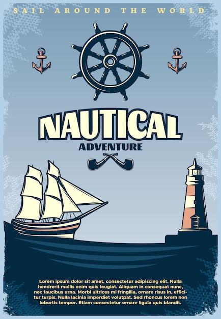 Retro nautische poster met titel zeil rond de wereld nautische avontuur krantenkoppen Gratis Vector