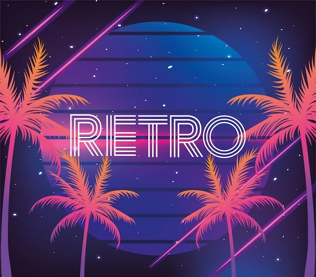 Retro neonpalmen en geometrische afbeelding Premium Vector