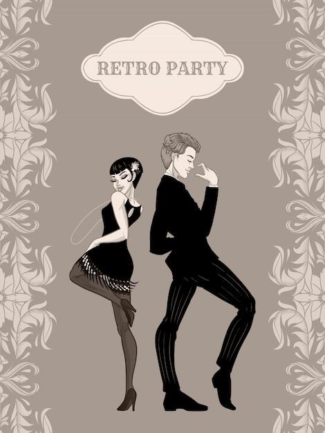 Retro partij kaart, man en vrouw gekleed in jaren 1920 stijl dansen, flapper meisjes knappe jongen in vintage pak, jaren twintig, illustratie Premium Vector