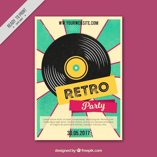 Retro poster party met vinyl Gratis Vector