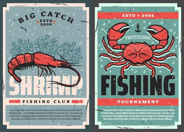 Retro posters, zeevruchten garnalen en krabvissen Premium Vector