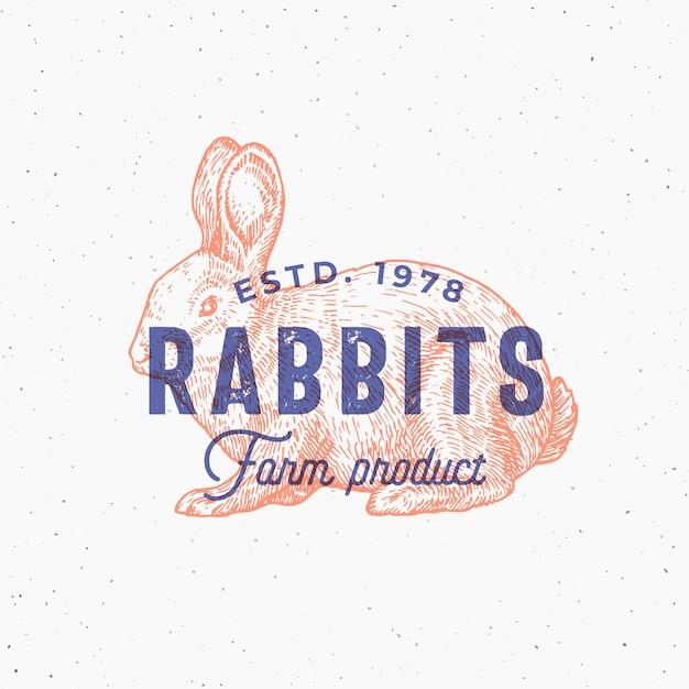 Retro print effect abstract teken, symbool of logo sjabloon. hand getrokken konijn sillhouette schets met typografie. vintage boerderijproducten embleem of stempel. Premium Vector
