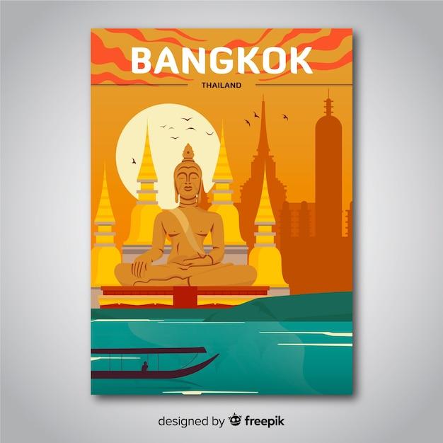 Retro promotie-poster van bangkok sjabloon Gratis Vector