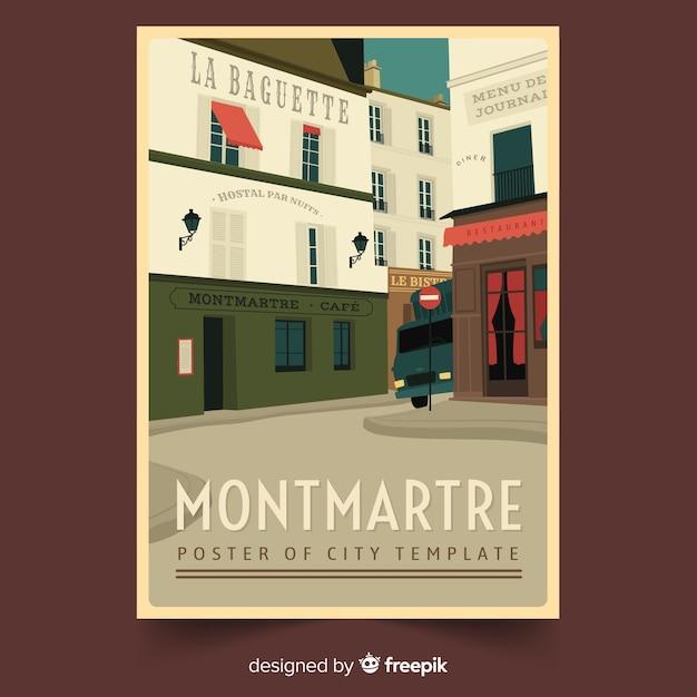 Retro promotie-poster van montmartre Gratis Vector
