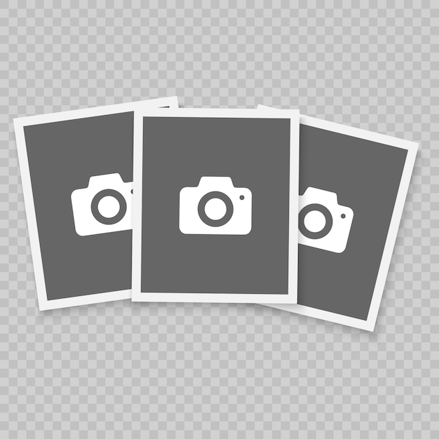 Retro realistisch vectorfotoframe, het ontwerp van de malplaatjefoto. geïsoleerd op transparante achtergrond Premium Vector