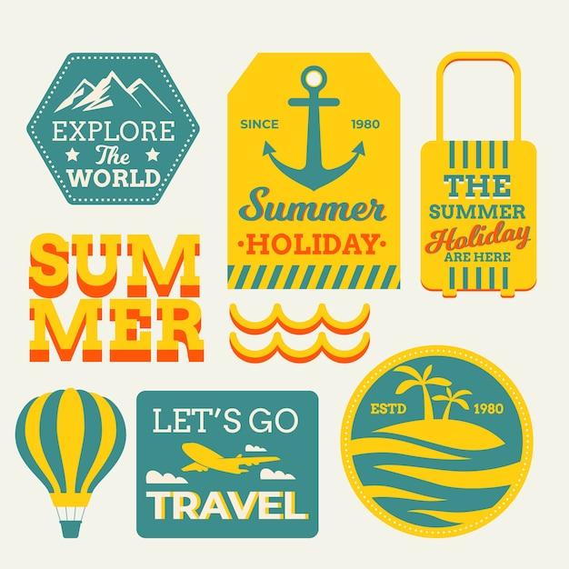 Retro reizende stickers in jaren 70 stijl Gratis Vector