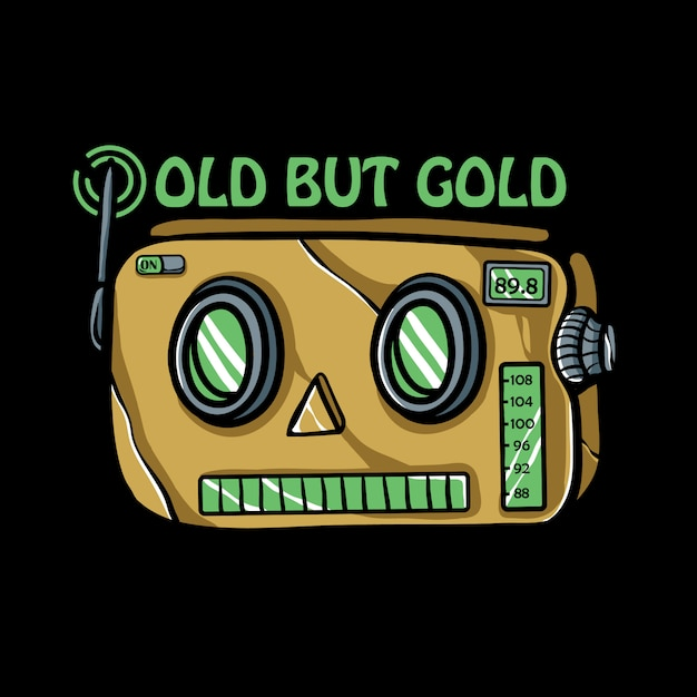 Retro robot radio illustratie Premium Vector