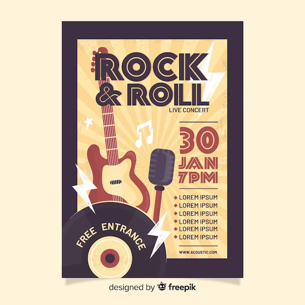 Retro rock and roll poster sjabloon Gratis Vector