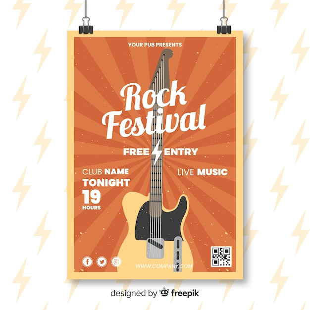 Retro rock festival poster sjabloon Gratis Vector