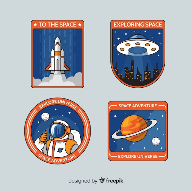 Retro ruimtestickers pack Gratis Vector