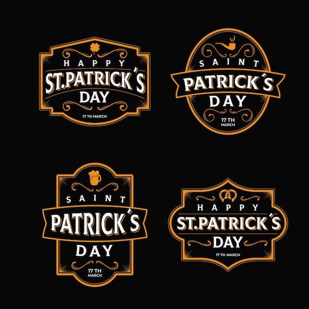 Retro saint patrick's day labelcollectie Gratis Vector