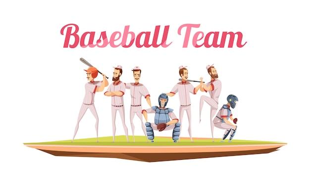 Retro samenstelling van het honkbalteam met atleten in eenvormig en helmen die honkbalknuppels vlak beeldverhaal houden Gratis Vector