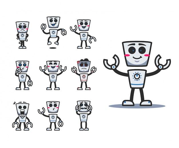 Retro schattige robot cartoon karakter mascotte met verschillende expressie vormen emotie set Premium Vector