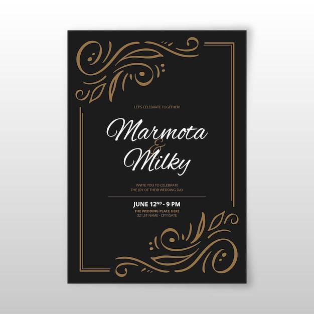 Retro sier bruiloft uitnodiging sjabloon Gratis Vector
