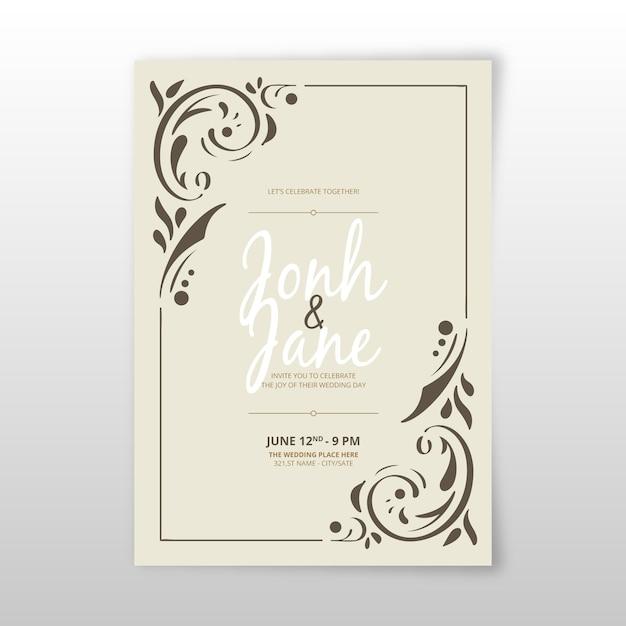 Retro sier sjabloon bruiloft uitnodiging Gratis Vector